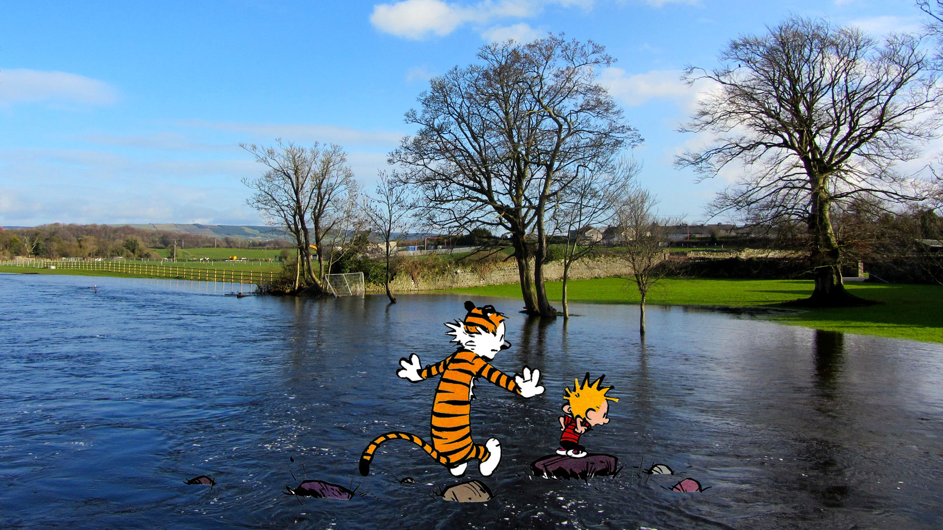 Calvin & Hobbes tour the Leafy Loop Durrow.